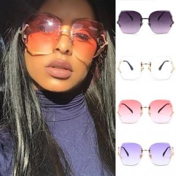 Stylish chic rimless sunglasses large fade tinted lens