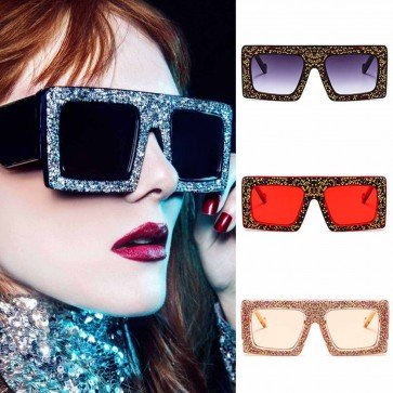 Luxury Bling Rhinestone Oversize Boxy Square Sunglasses