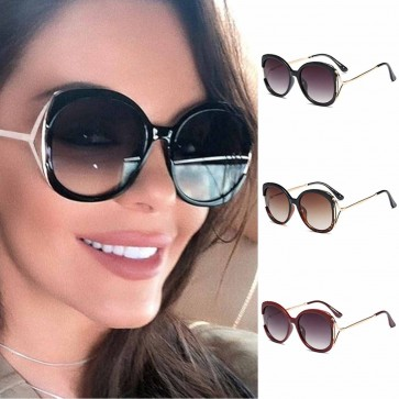 Oversized round sunglasses acetate frame metal temples