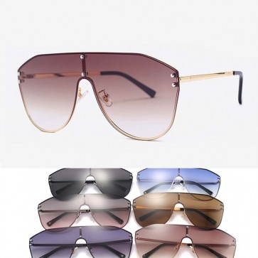 Futuristic Oversized Metal Aviator Shield Sunglasses