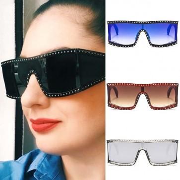Wrap around sunglasses w/ side shields & rhinestones