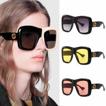 Geometric frames bicolor square oversized sunglasses