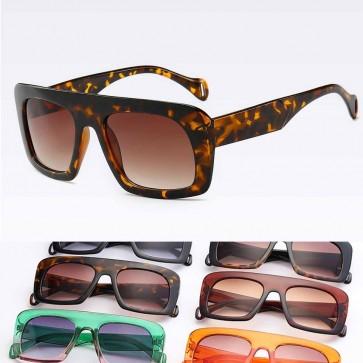 Flat Top Vintage Rectangular Frame Sunglasses