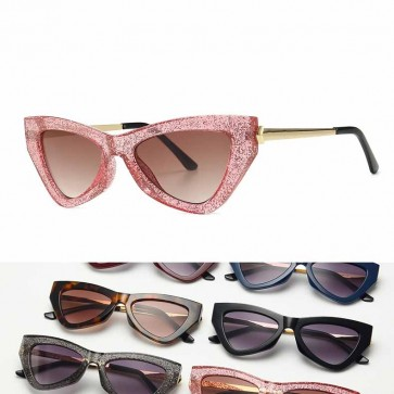 Glittering Powder Embellished Chic Cat Eye Sunglasses