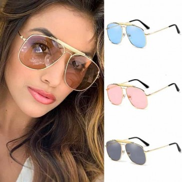 Street Fashion Top Bar Metal Big Aviator Sunglasses