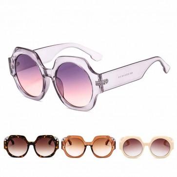 Colorful Festival Bold Hexagon Frame Round Sunglasses