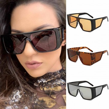 Geometric temple hip hop flat top aviator sunglasses