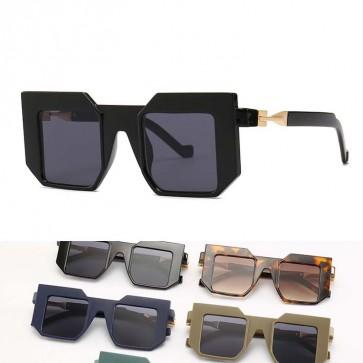 Futuristic Flat Top Acetate Frame Square Sunglasses