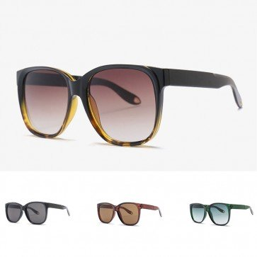 Retro large rectangle sunglasses gold tone arm tips