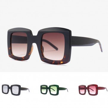 Cute bold rim square candy color boxy big sunglasses