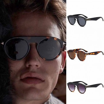 Vintage flat top sunglasses key hole bridge round lens
