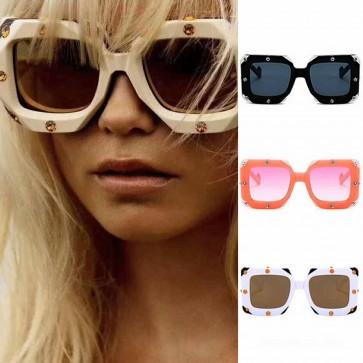 Big frame Square Rhonestone Sunglasses Oversized Shades