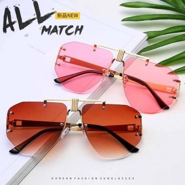 Sleek aviator sunglasses double bridges rimless lenses