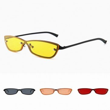 Ladies cat eyed sunglasses modern small one piece lens
