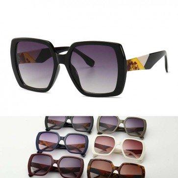Unique Large Boxy Multicolor Frame Hexagon Sunglasses