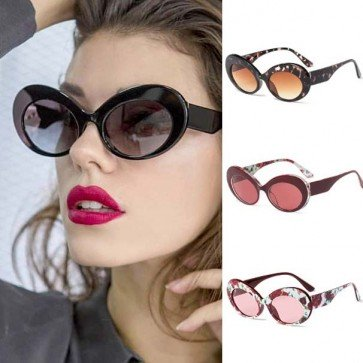 Broad frontal curved temples vintage oval sunglasses