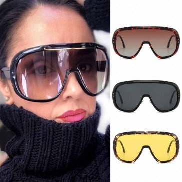 Oversized goggles one piece mask futuristic sunglasses