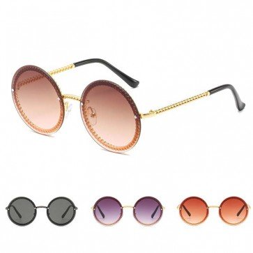 Modern Twisted Metal Frame Flat Lens Round Sunglasses