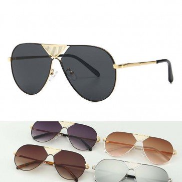 Gold Tone V Nose Bridge Aviator Sunglasses Metal Frame
