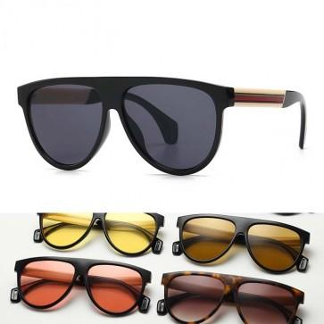 Ribbon legs tear drop pilot flat top aviator sunglasses