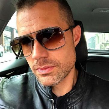 Unisex fashion flat top pilot sunglasses metal frame