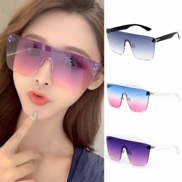 Oversized Rimless One Piece Lens Flat Top Sunglasses