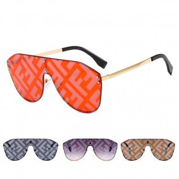 F letters monogram one piece lens aviator sunglasses