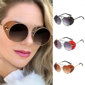 Round Flat Lens Metal Frame Side Shields Sunglasses