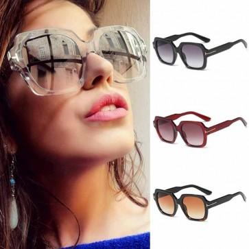 Vintage Bold Frame Boxy Lens Oversize Square Sunglasses