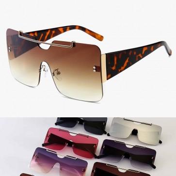 Square Shield One Piece Rimless Oversize Sunglasses