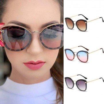 Rimless Flat Lenses Ladies Cat Eye Oversized Sunglasses