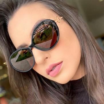 Retro Chic Metal Temples Flat Lens Oval Sunglasses
