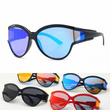Oversized Futuristic Goggles Side Cap Wrap Sunglasses