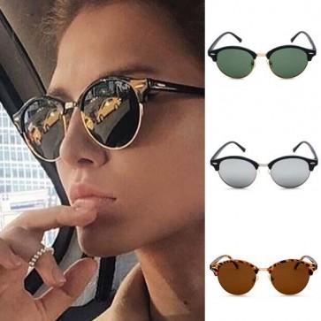 Retro horn rimmed keyhole bridge round sunglasses