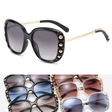 Oversize gold tone beads studded gradient sunglasses