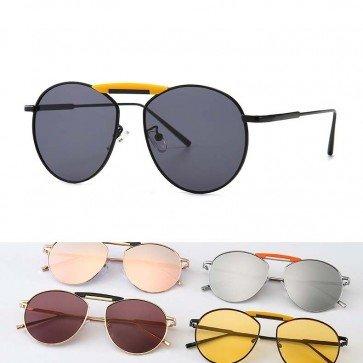Modern chic keyhole bridge flat lens round sunglasses
