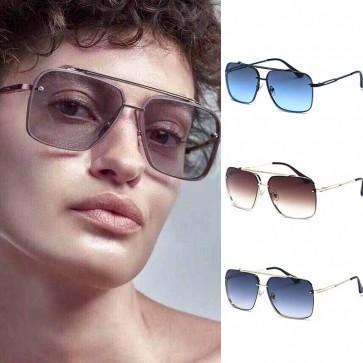 Rectangle Lens Metal Frame Luxury Aviator Sunglasses