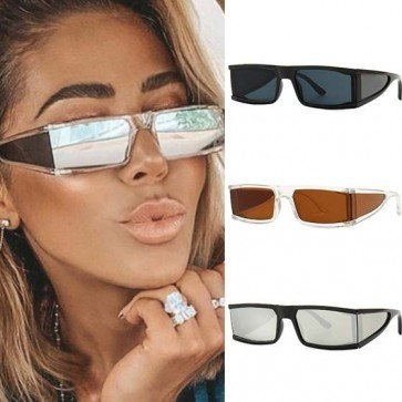 Futuristic shield sunglasses flat top side lens