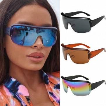 Oversized flat top shield lens wrap around sunglasses