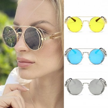 Retro Steampunk Round Sunglasses with Extra Side Rims