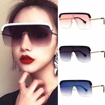 Flat top one piece mono lens aviator visor sunglasses