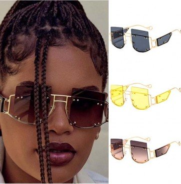 Steampunk metal frame side caps studded sunglasses