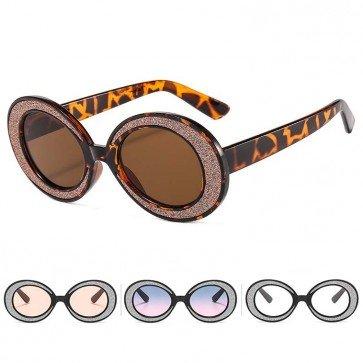 Bling Sunglasses Sparkling Rim Acetate Oval Frame