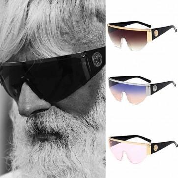 Half Frame Flat Top Visor Sunglasses One Piece Shades