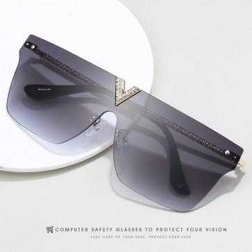 Rimless Bling Mono Shield Sunglasses One Piece Lens