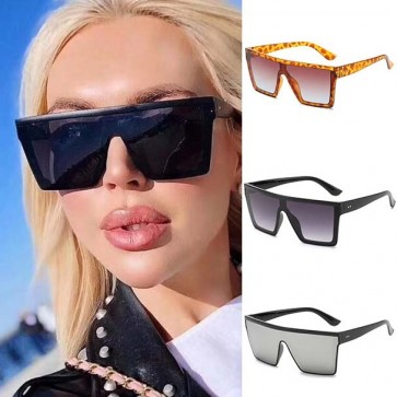 Flat Top Square Acetate Frame Vintage Sunglasses