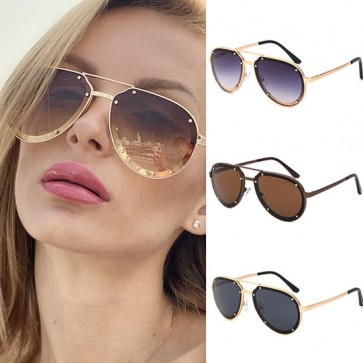 Gold Tone Studs Metal Frame Cool Aviator Sunglasses