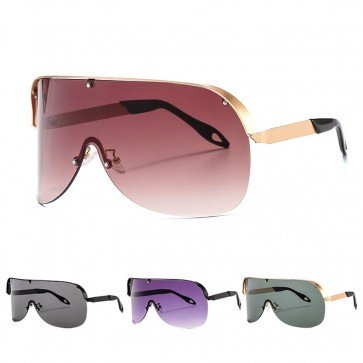 Modern flat top shield sunglasses wrap around shades