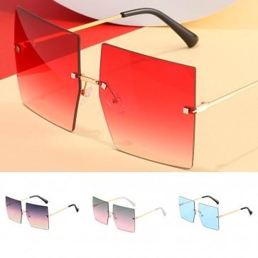 Modern large square sunglasses oversized rimless lens