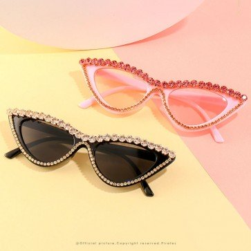 Acetate frame cute diamante bling cat eye sunglasses